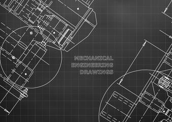 Blueprints. Mechanics. Cover. Mechanical Engineering drawing. Engineering design, construction. Black. Grid