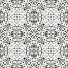 Seamless pattern doodle ornament. Ethnic motives. Zentagl. Coloring