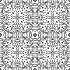 Seamless pattern doodle ornament. Ethnic motives. Zentangl. Coloring