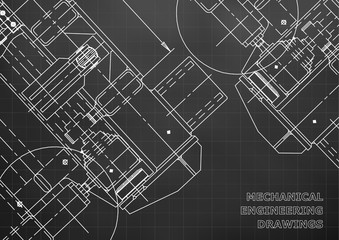 Mechanical Engineering drawing. Blueprints. Mechanics. Cover, background for your design. Black. Grid