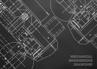 Mechanical Engineering drawing. Blueprints. Mechanics. Cover, background for your design. Black. Points