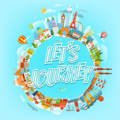 Travel vector illustration. Lets journey concept