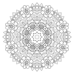 Oriental coloring pattern. Traditional round ornament. Mandala. Flowers. Doodle drawing
