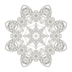 Oriental pattern. Traditional round ornament. Mandala coloring. Star. Doodle drawing