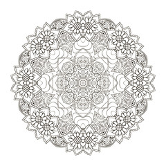 Oriental pattern. Traditional round ornament. Mandala Coloring. Turkey, Egypt, Islam. Doodle drawing