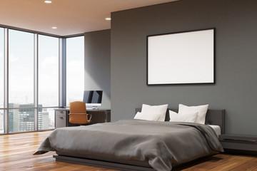 Dark gray wall bedroom, corner