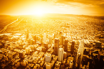 Los angeles aerial view from helicopter