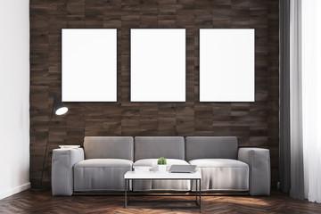 Dark wood walls living room, front