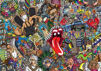 In de dag Graffiti Music collage on a large brick wall, graffiti