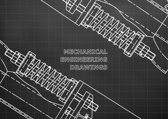 Mechanical engineering drawings. Background for inscription. Corporate Identity. Cover. Black. Grid