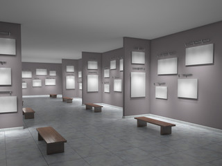 Big art gallery empty; 3d illustration