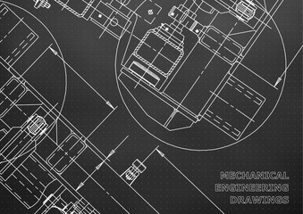 Mechanical Engineering drawing. Blueprints. Black. Points