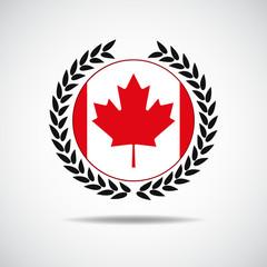 canadian flag, red maple leaf badge