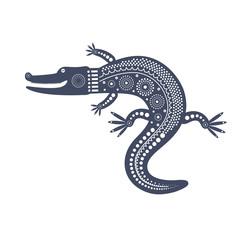 Синее графическое декоративное изолированное изображение крокодила в племенном стиле.