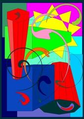 sfondo astratto colorato , sole e solidi geometrici