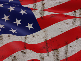 United States Flag On Grunge Wall Background