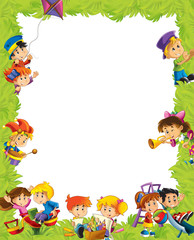 cartoon frame with children having fun playing