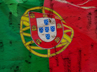 Portugal Flag On Grunge Wall Background
