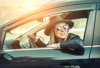 Woman at spreeng time. Yoyng happines female in hat and sunglass