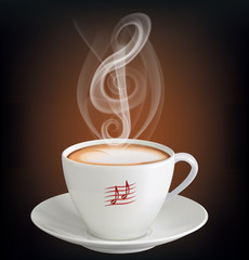 Cup of cappuccino with a steam in the form of a treble clef. Vector illustration