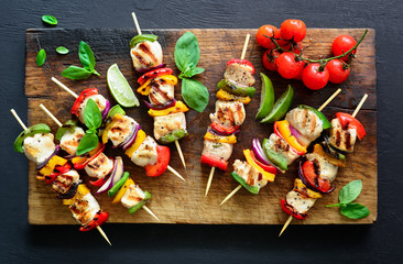 Meat and vegetables party skewers