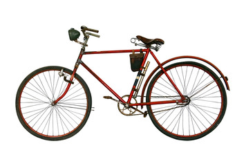 Antique rusted bicycle isolated on a white background. Retro red bike.