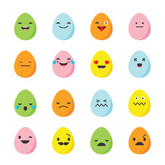 Emotions Eggs. Vector style smile icons.