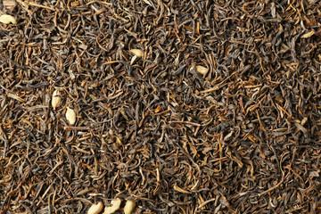 Dry tea leaves background