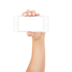 Woman hand holding the white smartphone isolated
