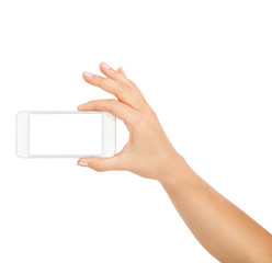 Woman hand hold the white smartphone isolated