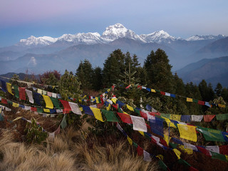 Prayer flags with view at Annapurna peak in Nepal, Poon Hill