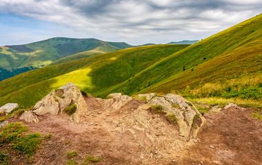 stones on the edge of mountain cliff