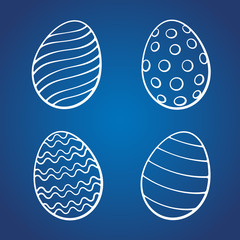 Vector illustration. Hand drawn set of doodles of Easter eggs. Cartoon sketch. Decoration for greeting cards, posters, emblems, wallpapers
