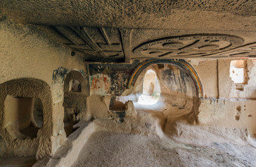 Interior of the cave church with early ortodox christian fresco - Cappadocia, Central Anatolia, Turkey (UNESCO World Heritage Site since 1985)