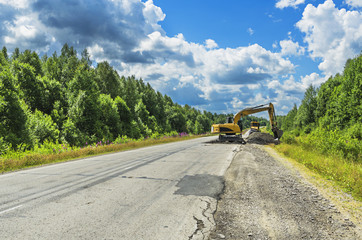 repair of road surface on the intercity highway