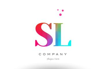 SL S L colored rainbow creative colors alphabet letter logo icon