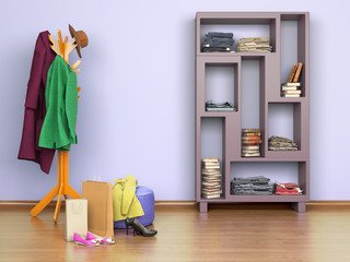 room with hanger  floor, boxes and shoes, cupboard, 3d illustration
