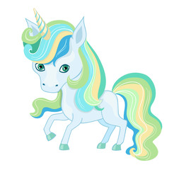 Illustration of a very cute  unicorn in pastel colors.