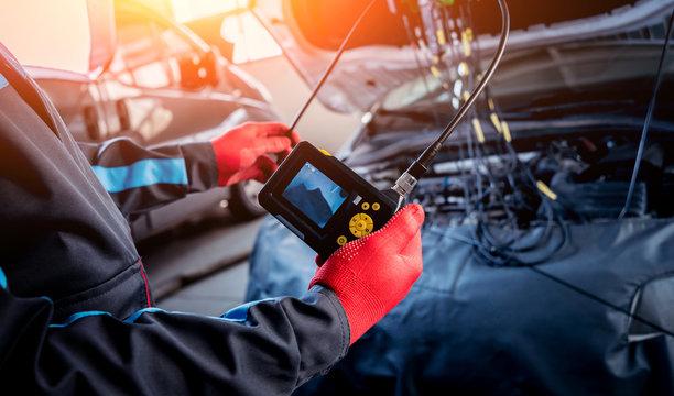 Video investigate. Engine diagnostics. Car repair.