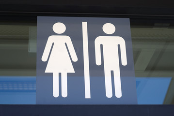 toilet sign man and woman icons graphic panel