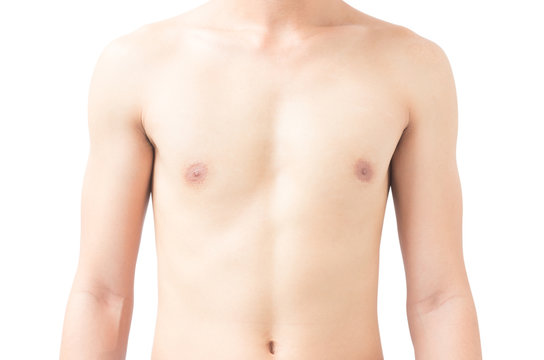 Closeup of body asian young man white background, health care and medical concept