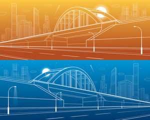 Railway bridge, empty highway. Urban infrastructure, modern city on background, industrial architecture, towers and skyscrapers. White lines illustration, day and night version, vector design art