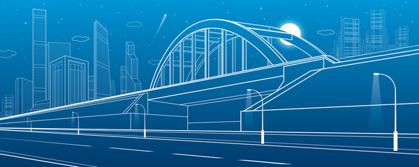 Railway bridge, empty highway. Urban infrastructure, modern city on background, industrial architecture, towers and skyscrapers. White lines illustration, night scene, vector design art