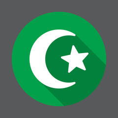 Star and crescent of Islam flat icon. Round colorful button, circular vector sign with long shadow effect. Flat style design