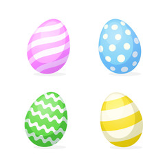 Vector illustration. Set of Easter eggs in flat style. Decoration for greeting cards, prints for clothes, posters