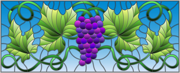 The illustration in stained glass style painting with a bunch of red grapes and leaves on sky background,horizontal orientation