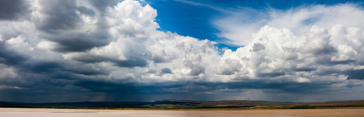 Panorama of beautiful sky with stormy clouds