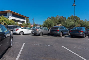 Parking lots near the mall in Santa Barbara in California USA