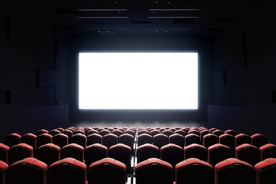 Blank cinema screen front