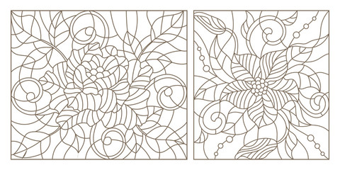 Set contour illustrations in the stained glass style, abstract flowers , dark outline on a white background